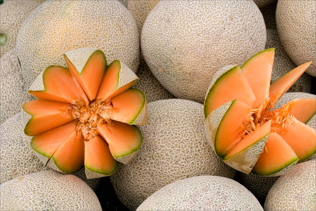 Cantaloupe carved